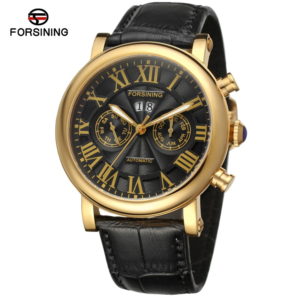Forsining Sapphire Automatic Men's Watches Top Brand Luxury Black Gold Watch Genuine Leather Mechanical Watch Relogio Automatico ultra luxury 2 3 5 modes german motor watch winder white color wooden black pu leater inside automatic watch winder