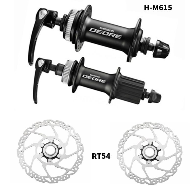 Shimano Deore M615 Hubs RT54 Rotors 32 holes Disc Hub set Front and Rear QR Centerlock