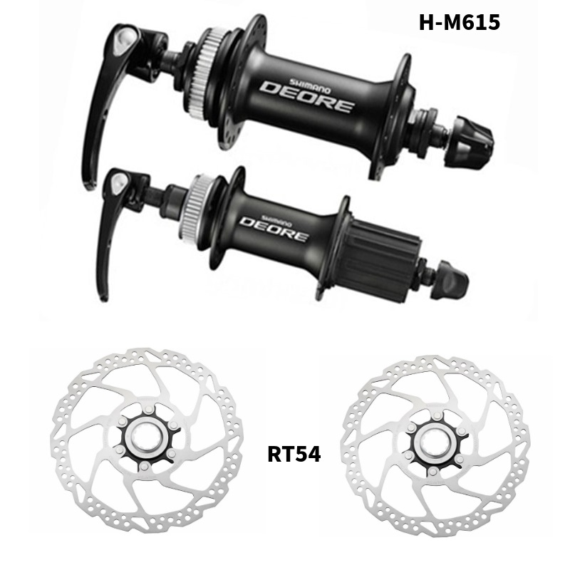 Shimano Deore M615 Hubs+RT54 Rotors 32 holes Disc Hub set Front and Rear QR Centerlock Rotors 10s-in Bicycle Hubs from Sports & Entertainment    1
