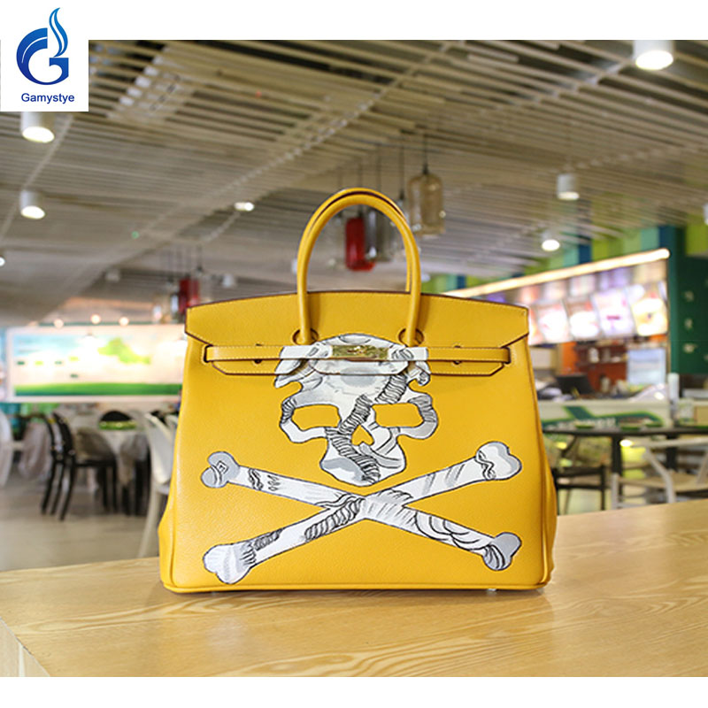 GAMYSTYE Graffiti leather handbags yellow rock skull Women's luxury Bags Hand Painted totes Europe and America HIP-POT bags rock skull graffiti custom bags handbags women luxury bags hand painted painting graffiti totes female blose women leather bags
