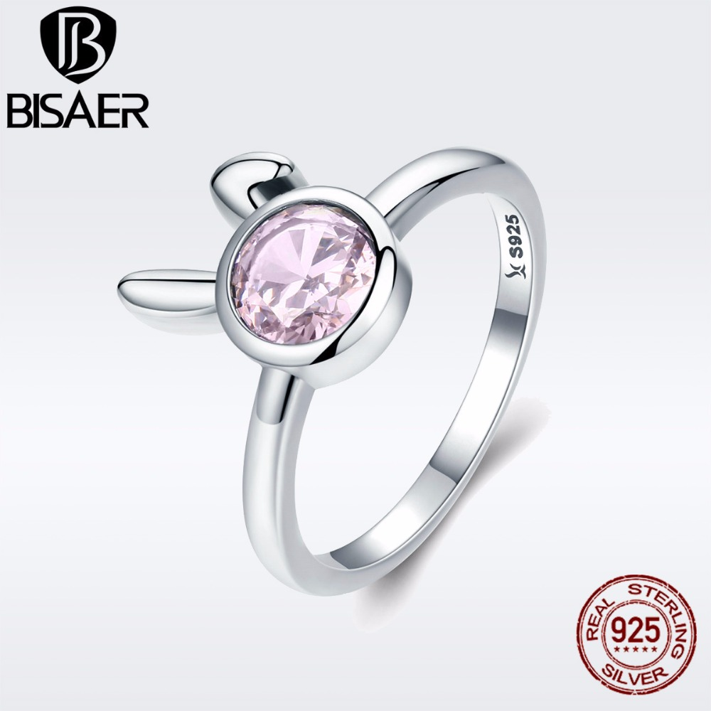 BISAER Authentic 925 Sterling Silver Female Sweet Rabbit Bunny Ears Finger Rings for Women Engagement Ring Jewelry Anel GXR243