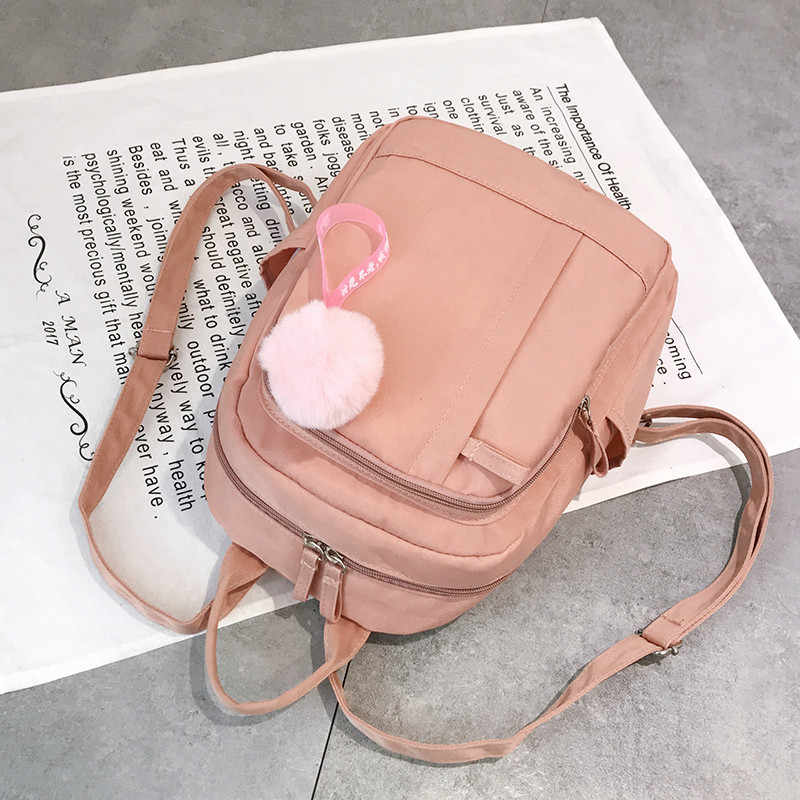 Wanita Ransel Nilon College Ransel untuk Remaja Sekolah Casing Wanita Perjalanan Ransel Tas Bolsas Mochilas Sac Dos Pink Tas Ransel