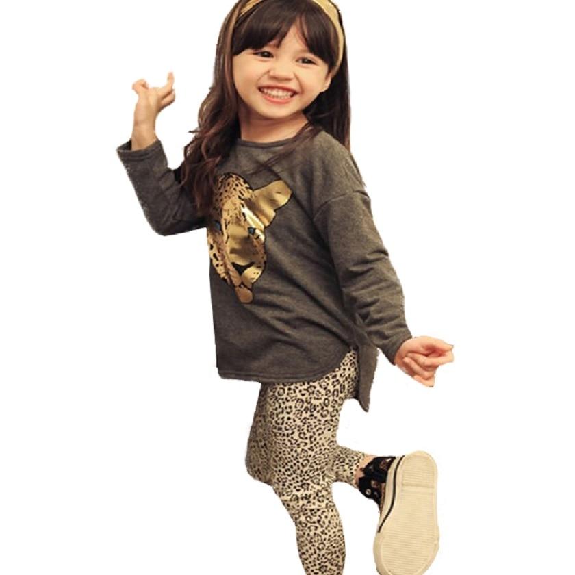 2018 Spring Autumn Girls Clothing Sets christmas Baby Kids Clothes Children Clothing Full Sleeve T Shirt Leopard Leggings 2pcs leopard panel side leggings
