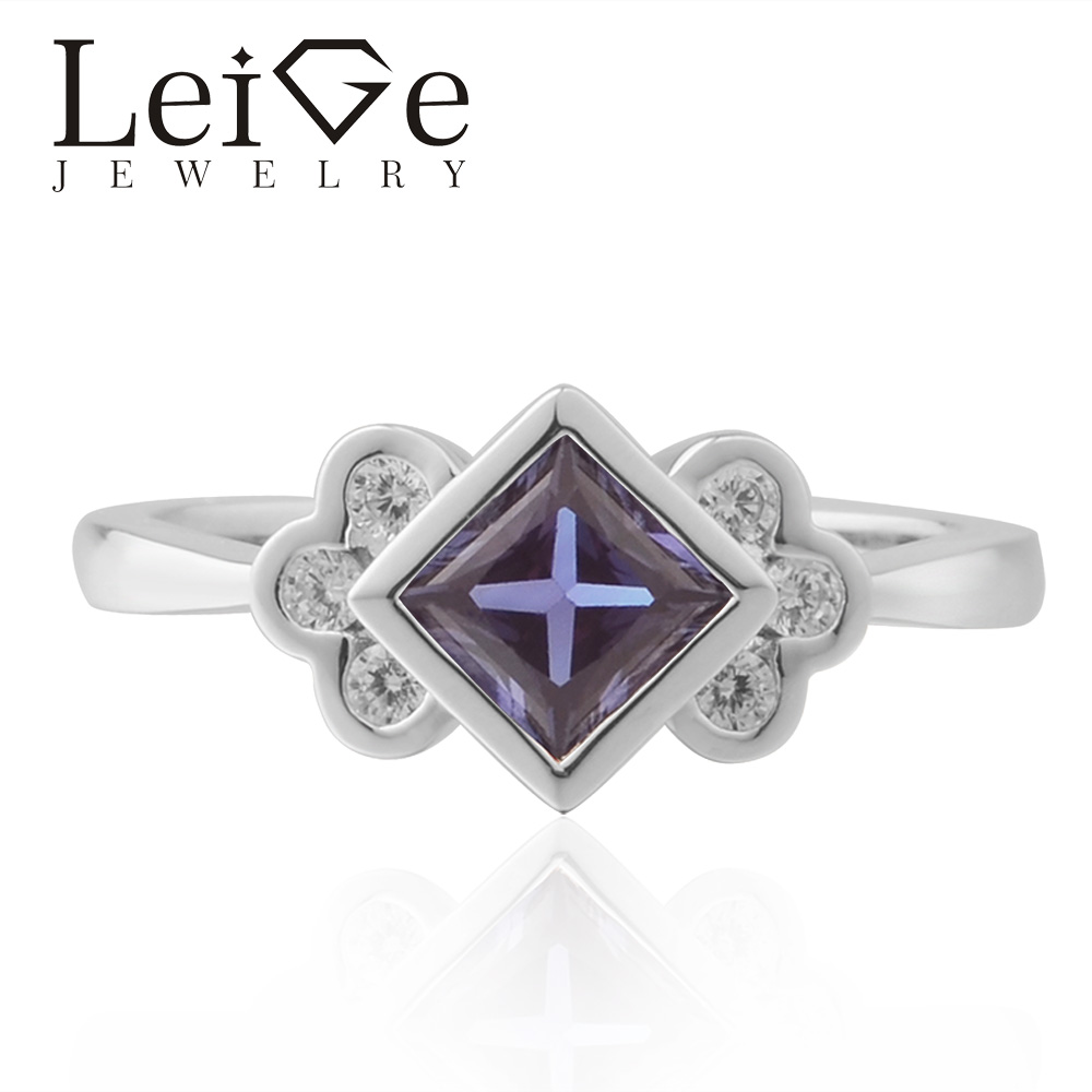 Leige Jewelry Alexandrite Ring Princess Cut Wedding Engagement Rings For Woman Sterling Sliver 925 Fine Jewelry June Birthstone