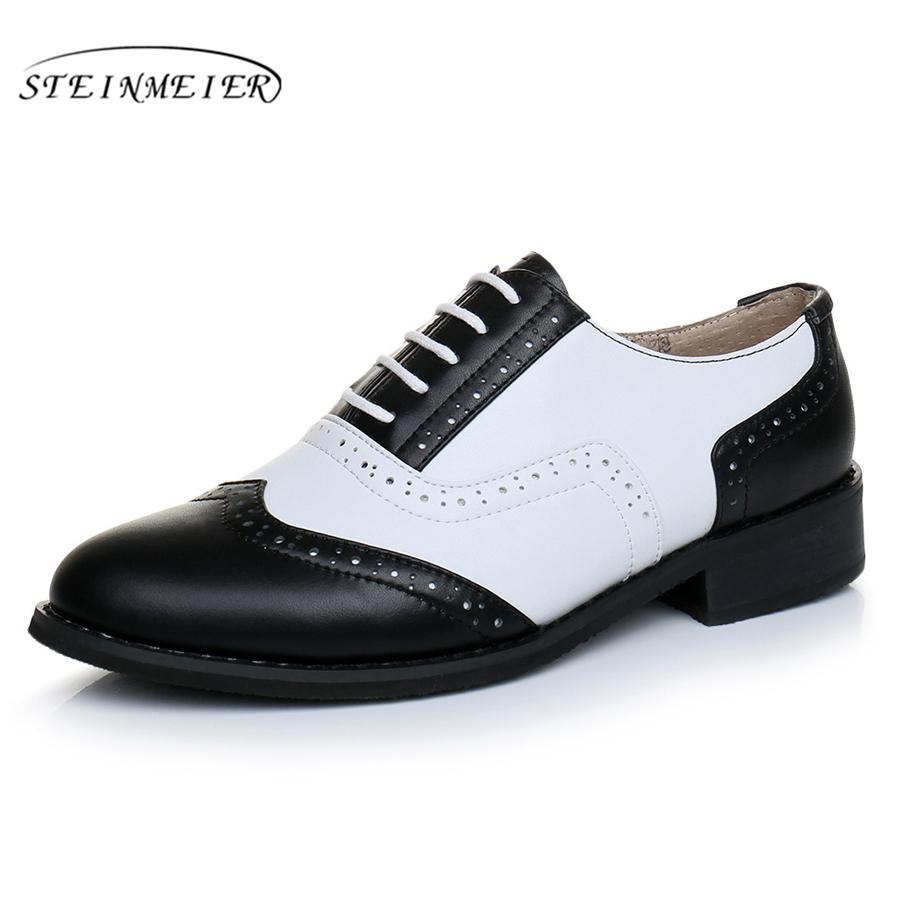 Genuine leather big shoes women US size 11 handmade flat black white 2019 vintage British style oxford shoes for women with fur-in Women's Flats from Shoes    2