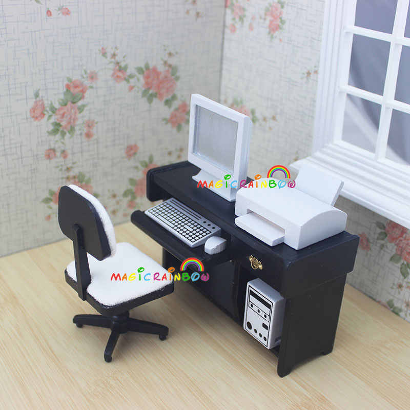 1:12 Scale Dollhouse Miniatures Desk Computer Chair Printer Office Furniture Wood 4pc for Doll House