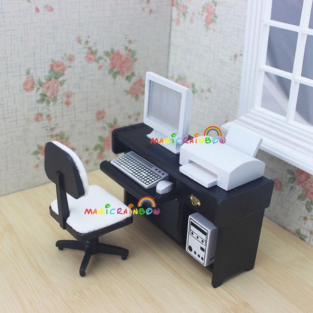 1 12 b sculas dollhouse miniaturas escritorio computadora for Muebles para oficina 6
