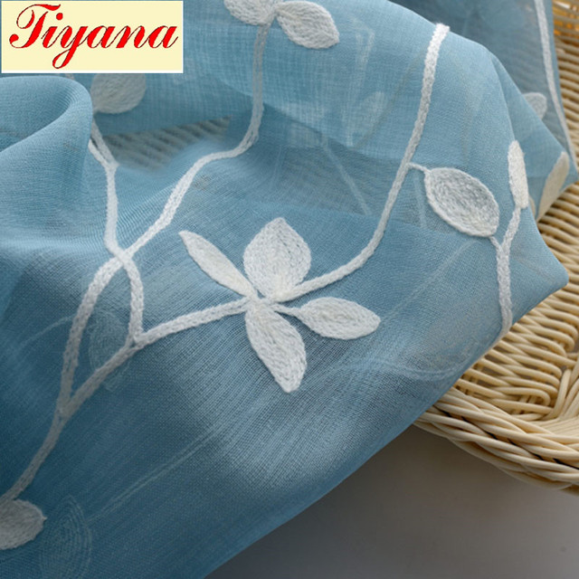 Blue pink leaves Cotton thread embroidery Drape feeling good curtain ...