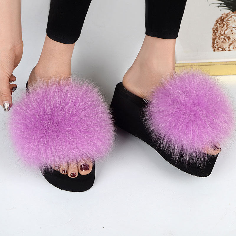 COOLSA New Women's Real Fox Fur Sandals Lady Fluffy Slides Casual Furry Flip Flops Woolen Plush Slippers Platform Shoes