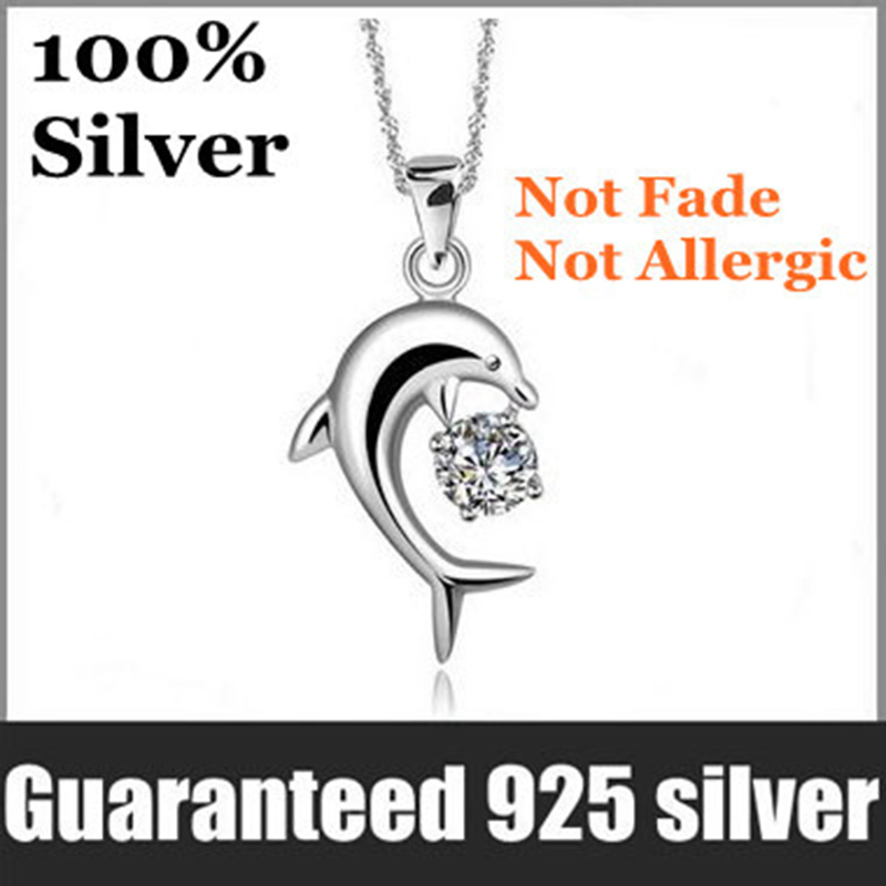 100% Genuine 925 Jewelry Sterling Silver Dolphin Women Pendant Necklace Top quality.Not Fade&Not Allergic female ladies bet gift