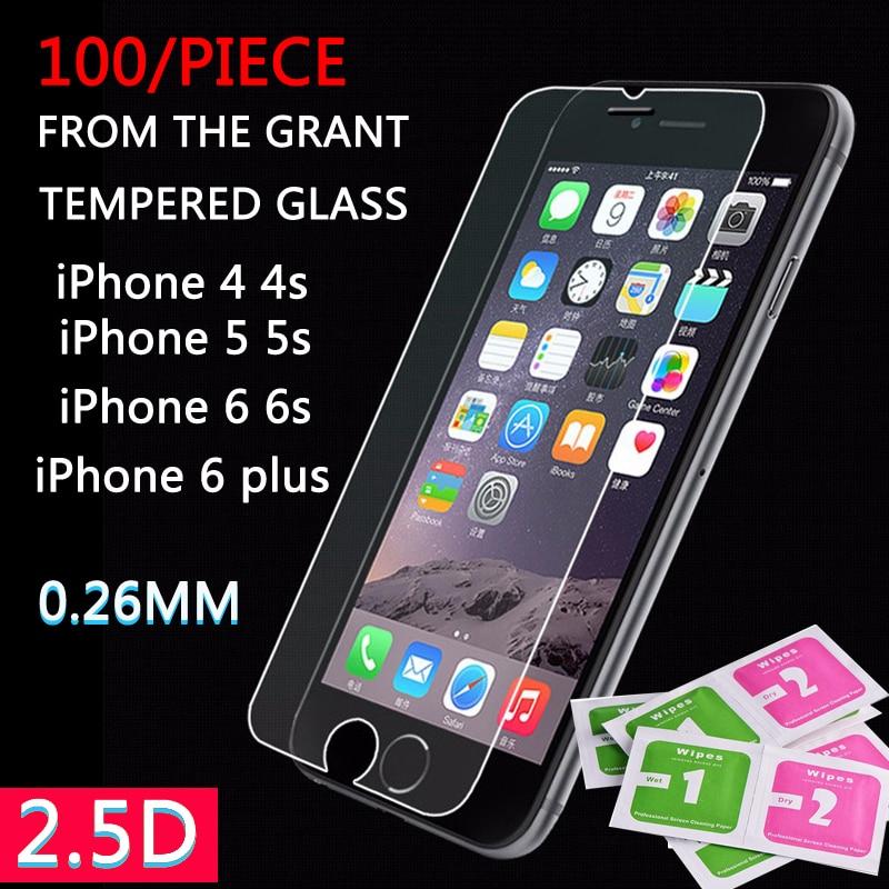 100 pièces 9 H 0.26mm verre trempé anti-déflagrant pour iPhone X 8 8plus 7 6 6 S Plus 5 Film protecteur d'écran
