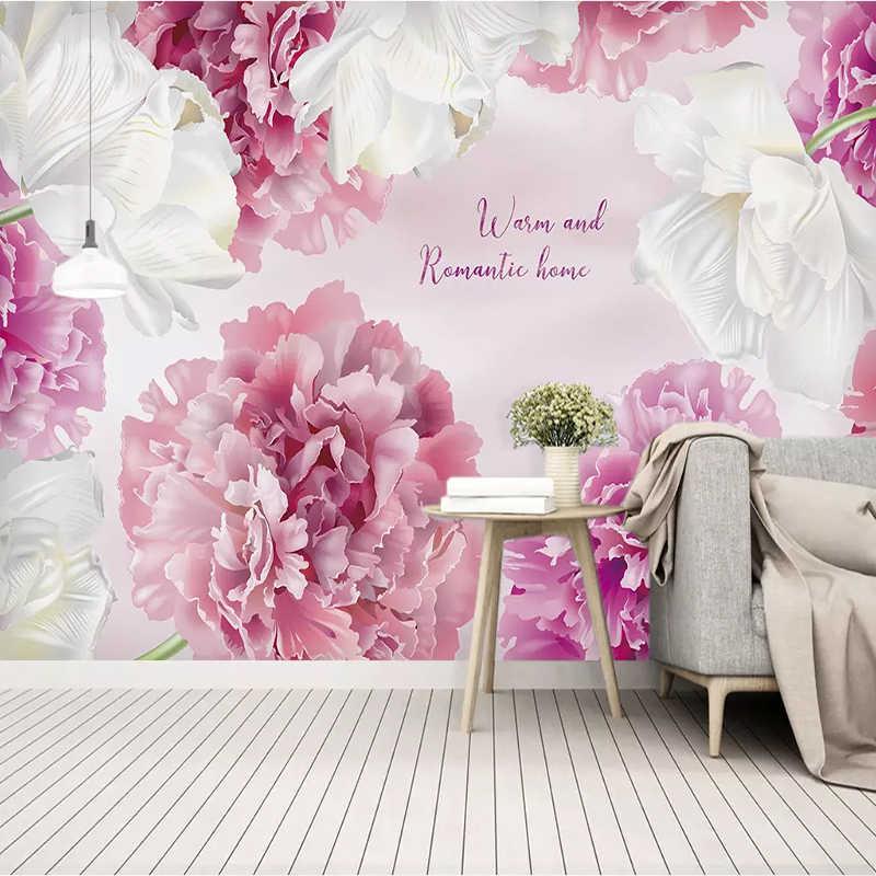 Personnalisé mur tissu moderne minimaliste rose violet fleur murale papier peint salon TV maison étanche décoration mur peinture