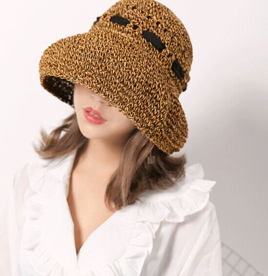 8pcs free shipping/2017-A367 handwork Knitting soft folding Sun beach straw cap women lady sunscreen hat wholesale