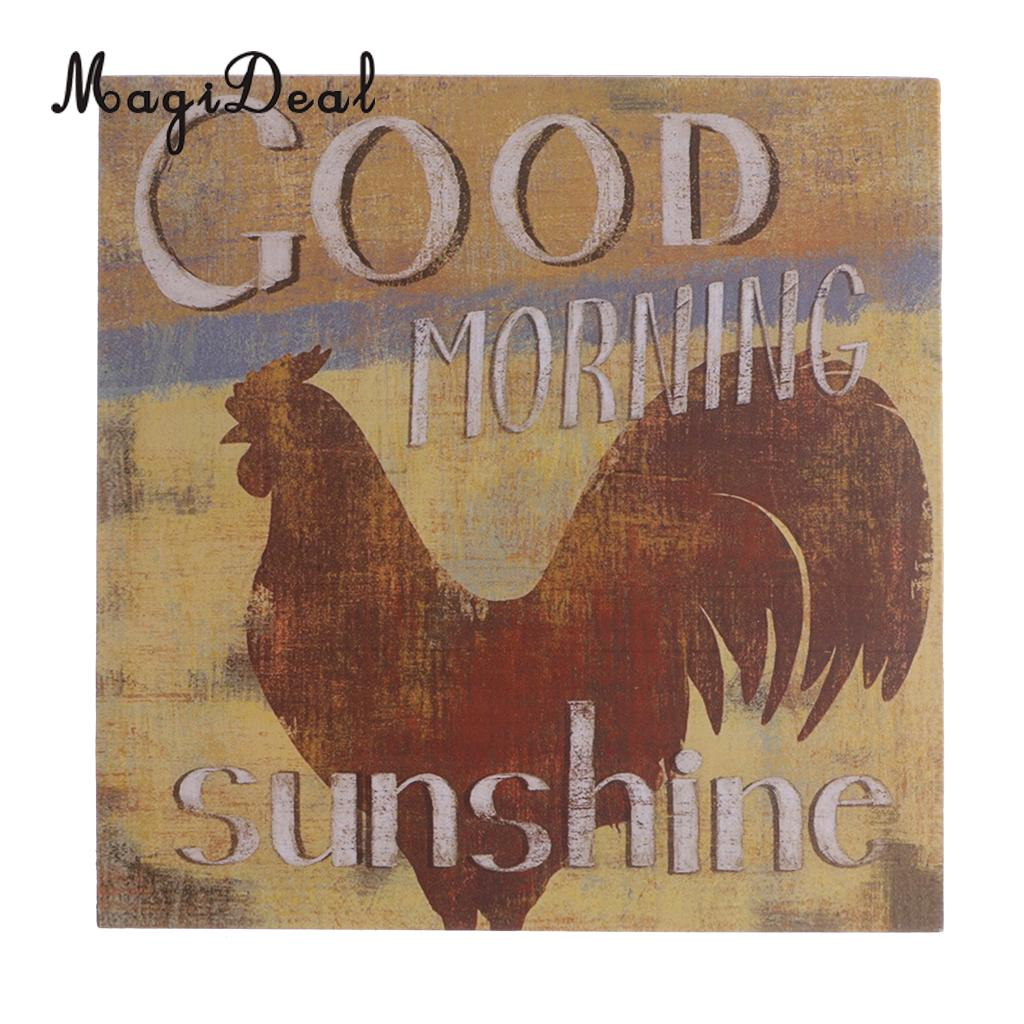 MagiDeal Vintage Good Morning Sunshine Chicken Rooster Wooden Sign Country Home Decor