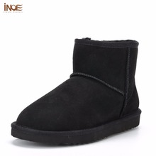 INOE Classic sheepskin leather real sheep fur lined winter short ankle suede snow boots for women winter shoes flats black brown