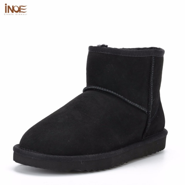 26f975f55eb INOE Classic sheepskin leather real sheep fur lined winter short ankle suede  snow boots for women
