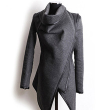 Women Fashion Autumn Asymmetric Irregular Long Sleeve Trench font b Coat b font Windbreaker