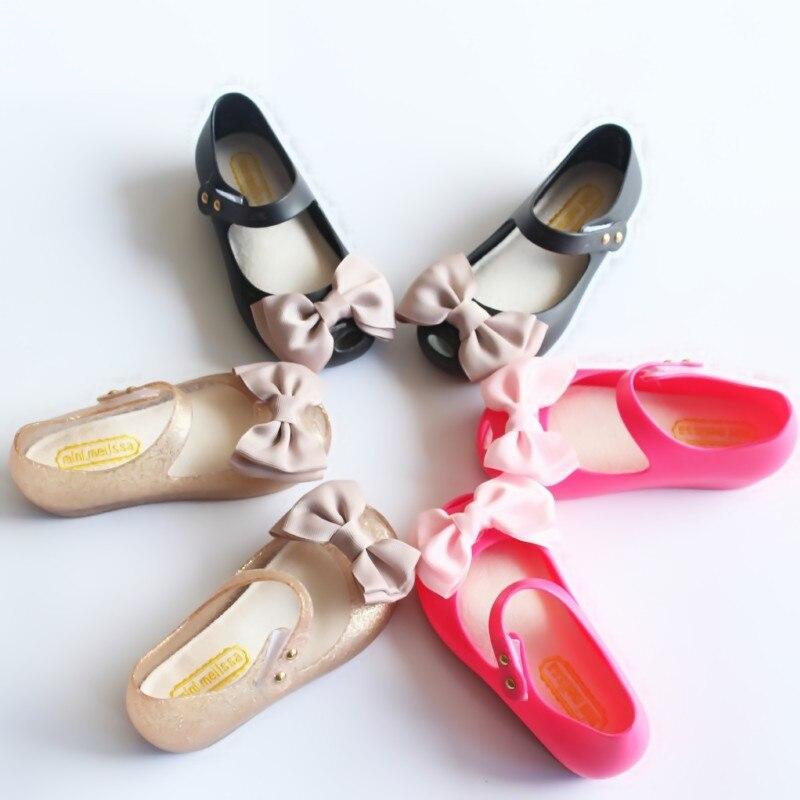 de73eef5527f6 2017 mini melissa Cloth bow girls Princess Shoes Jelly Sandals Children  Beach Shoes Girls soft bottom Sandals kids shoes