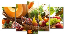 5 panel food still life canvas printing modern home wall decoration living room picture frame XJDC10-39