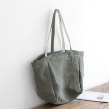 AETOO Literary canvas Japan and South Korea large capacity cotton linen casual shoulder portable original innovative solid