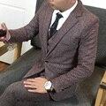 3 piezas de Calidad de Los Hombres Vestido de Traje de Novia de Estilo Británico De Los Hombres de Corea Slim Fit Un Botón de Trajes Para Hombre de la Chaqueta Conjunto Jacket + Pant + Vest