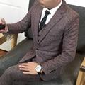 Qualidade 3 peças Homens Terno Estilo Britânico Dos Homens Do Vestido de Casamento Para Os Homens Coreano Slim Fit One Button Ternos Set Blazer jaqueta + Calça + Colete