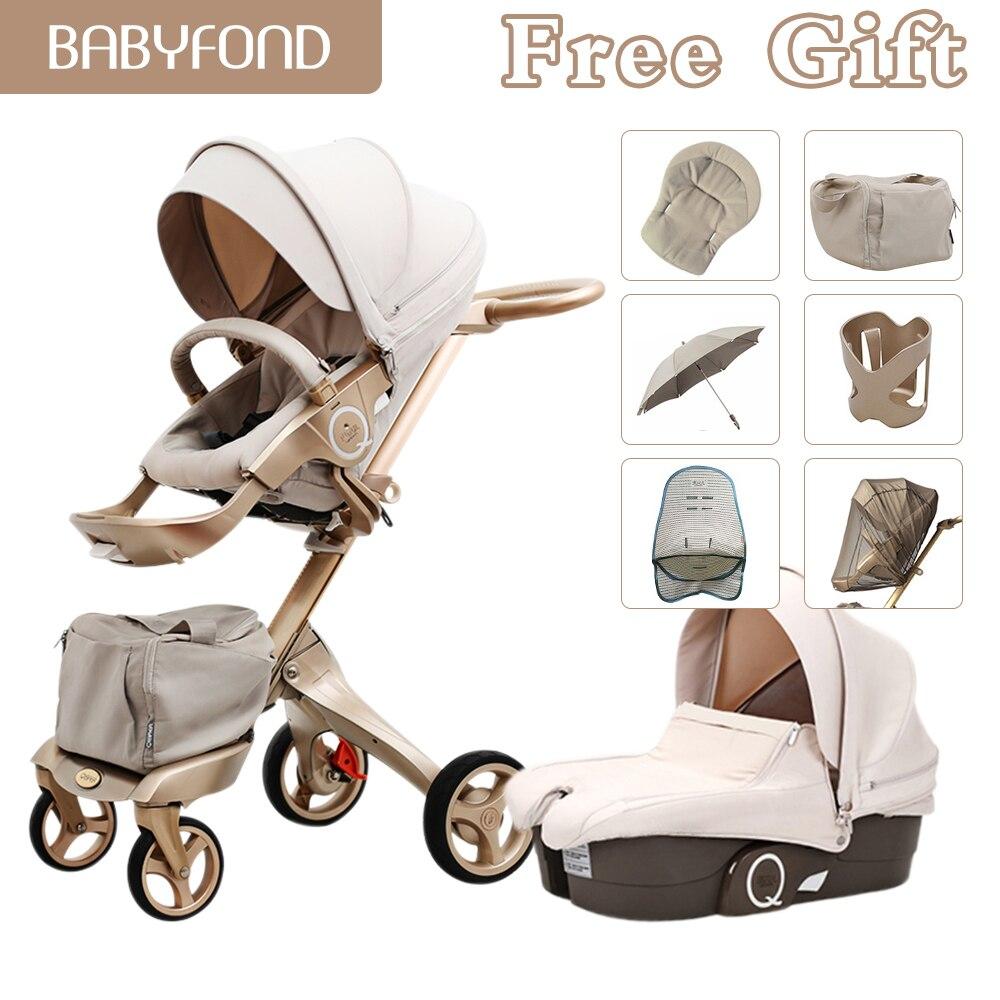 Free Ship!original Luxury Baby Stroller High Landscape Stroller Portable Baby Carriage Folding Newborn Pram Travel System 2 In 1