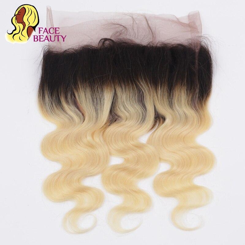 Facebeauty 1B 613 Ombre блондинка закрытие 360 Кружева Фронтальная Реми перуанской тело волна 100% человеческих волос предварительно сорвал фронтальные...