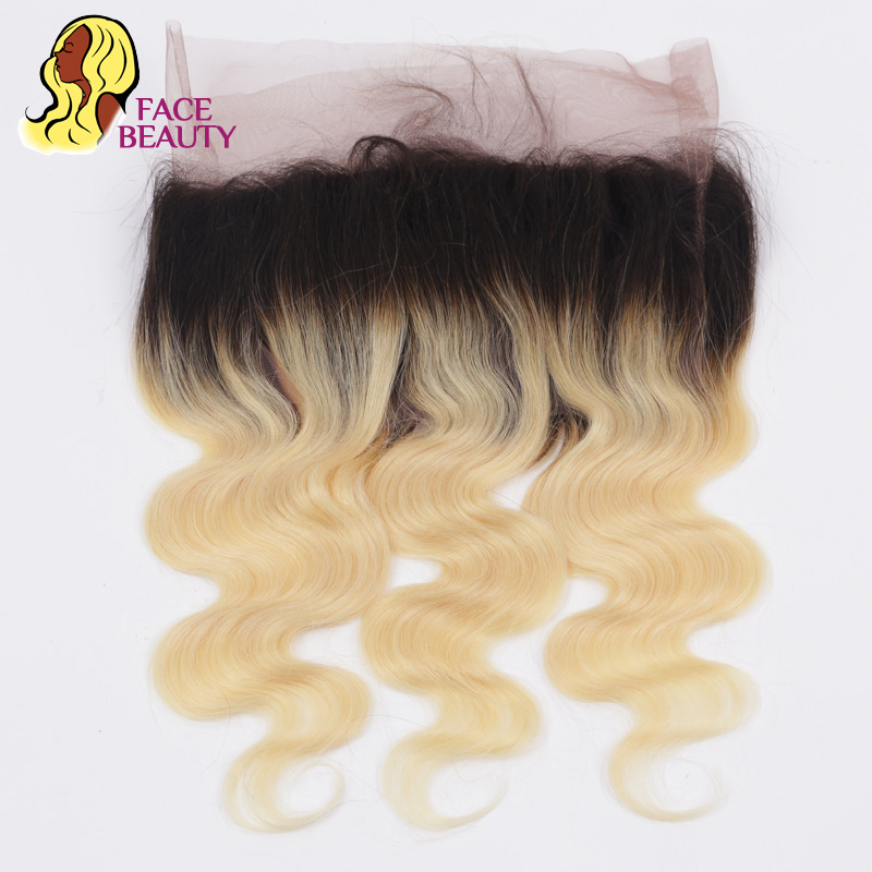 Facebeauty 1B 613 Ombre Blonde Closure 360 Lace Frontal Virgin Peruvian Body Wave 100% Human Hair Pre Plucked Frontal Swiss Lace
