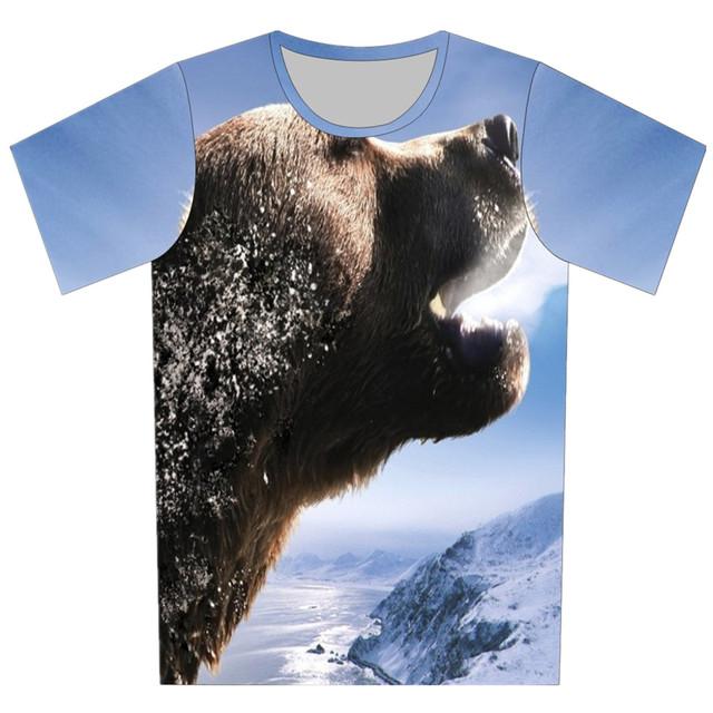 2016 niños del verano nuevos estilo T Shirt Animal oso Putin Galaxy impresión buho de la historieta de la camiseta del cabrito muchacho fresco de moda Tee Tops
