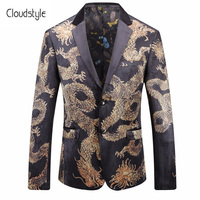 Cloudstyle 2018 New Arrival Male Performance Suit Jackets Dragon Print One Button Casual Style Slim Fit