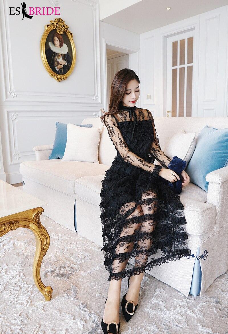 Décontracté Simple robes De soirée longue noir pile-up gâteau Robe De soirée col rond Robe élégante Robe De soirée Robe De soirée ES1890 - 3