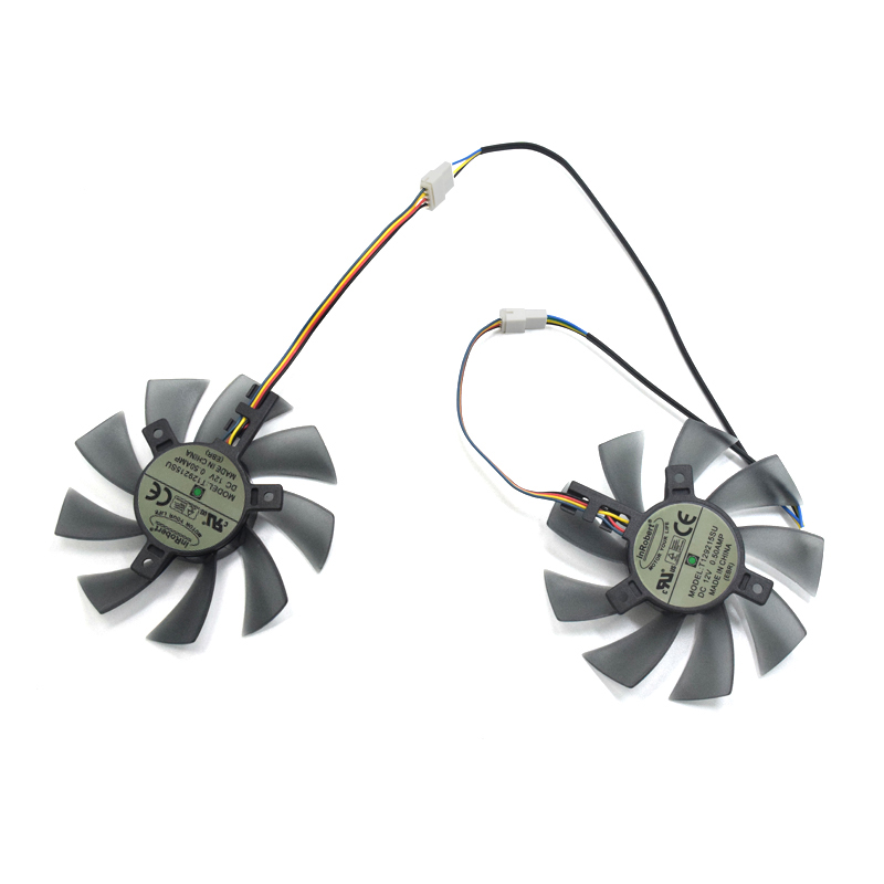 2pcs/lot 85mm T129215SU 4Pin Two Ball-Bearing For Gigabyte GTX 580 gaming 4gb MSI RX 460 480 580 Video Card Cooler Fan everflow 85mm t129215su 4pin cooling fan replace for asus gtx 460 hd 6790 6870 graphics card cooler fans diy