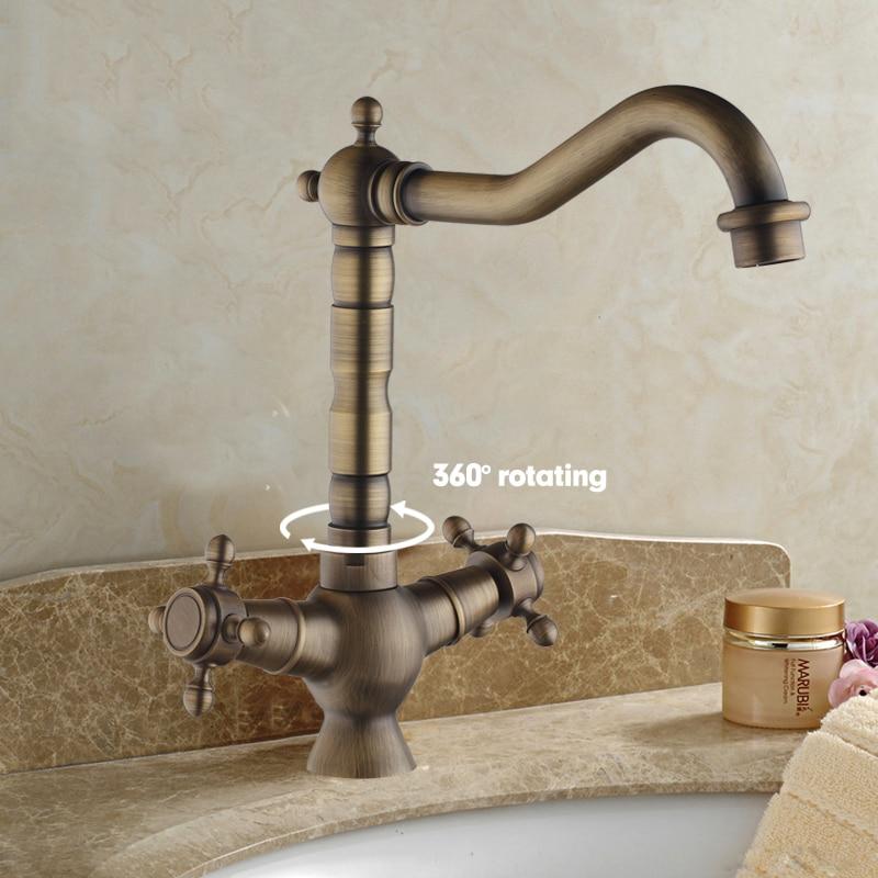 Swivel Antique Brass Double Handles + Cover Plate+Hose Basin Sink Kitchen Torneiras Cozinha Bathroom FaucetMixer Tap antique brass swivel spout dual cross handles kitchen
