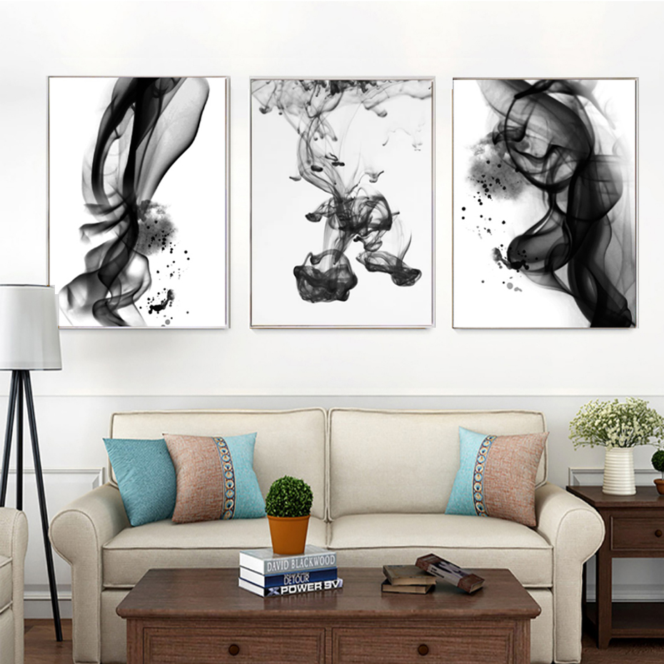 Abstract Ink Posters Prints Wall Art Pictures Canvas Paintings Black White Nordic Pop Living Room Home Office Decor Dropshipping