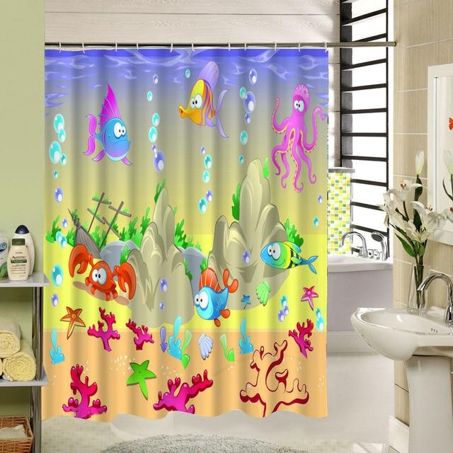 Kids Shower Curtain Polyester Fabric 3d Print Waterproof Bathroom Sea World Pattern Fish Turtle Custom Bathtub Liner Decor