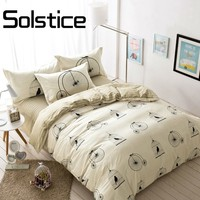 Solstice Home Textile 2018 Fashion Compact Four Pieces Cage Bikes Pattern Beige Duvet Cover+flat Sheet+pillowcases