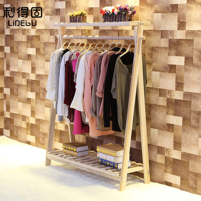 New retro high grade solid wood coat rack clothing store shelf ...