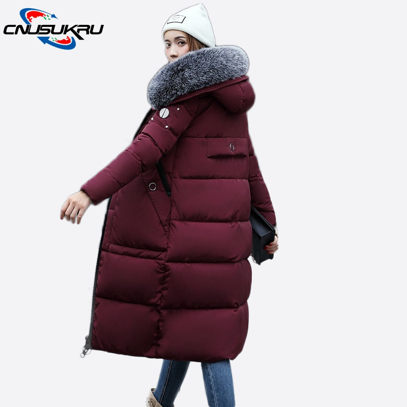 High quality ladies coat thicken big fur collar winter jacket women 2017 new warm long outwear cotton padded Female hooded parka newear 2017 new fashion coat women winter jacket coat womens medium long cotton warm coat outwear high quality hot sale