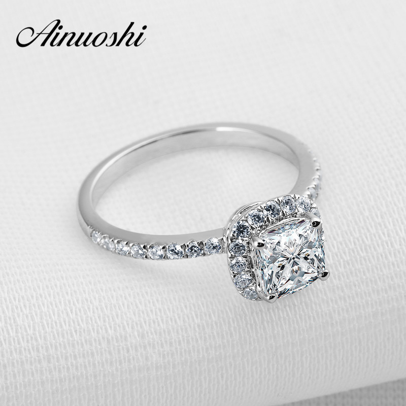 AINOUSHI 925 Sterling Silver Bague 1 ct Cushion Cut Sona Engagement Wedding Ring Wife Graceful Jewelry for Her Promise