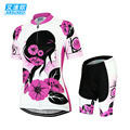 ARSUXEO Women Summer Bike Bicycle Cycling Clothing Set Breathable Quk Dry Short Sleeves Jersey + 3D Coolmax Padded Shorts Suit
