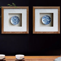 Chinese Style Vintage Decorative Paintings Wood Rim Blue And White Porcelain Crafts Furniture Tea Room Adornment
