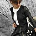 2016 Mulheres Jaquetas E Casacos de Outono Mulheres Jaqueta Moda Preto Branco Feminino Manga Longa Outwear Jaqueta Doudoune Femme Plus Size