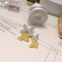 Designer Fashion 925 Sterling Silver Jewelry 2 Tone Plated 3A Cubic Zirconia Butterfly Necklace