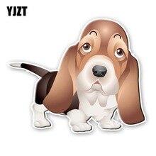 YJZT 15,8 CM * 13,2 CM un perro con orejas largas personalidad PVC coche pegatina 12-300143