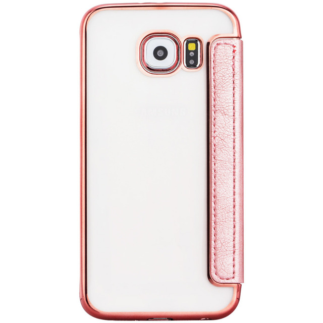 Us 819 Case For Samsung Galaxy S7 Edge Luxury Rose Gold Plating Electroplating Back Soft Tpu Clear Front Pu Leather Coque Cover In Flip Cases From