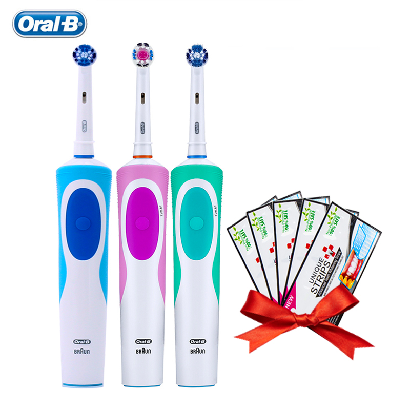 Oral B Vitality Electric Toothbrushes Rechargeable Teeth Brush 2 Minutes Timer + Gift Teeth Whitening Strips Free Shipping image