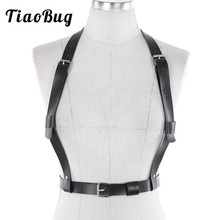 TiaoBug Sexy Women PU Leather Body Chest Harness Buckles Bondage Adjustable Body Chest Harness Hot Bondage Belt Straps Tops
