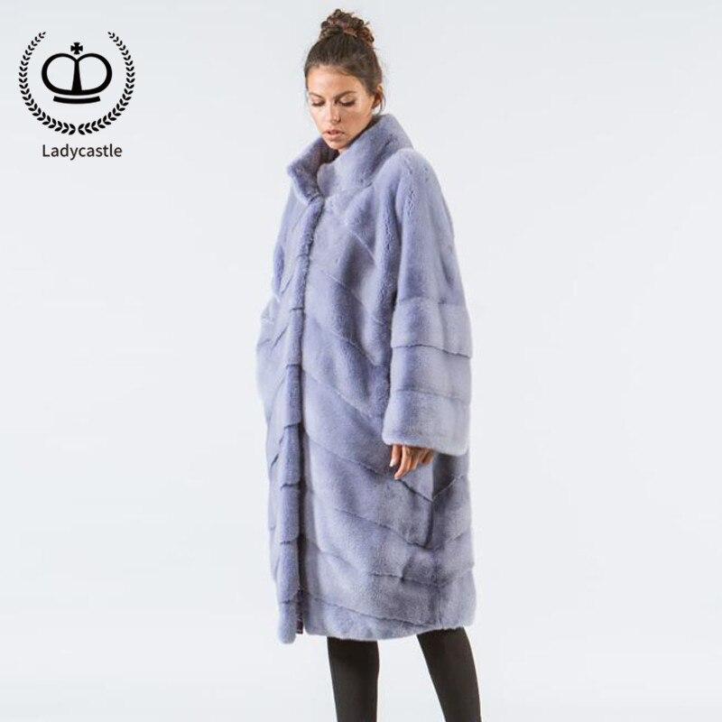 Nouveau dyeing Sky Femmes Mkw De Fourrure 2018 Stand Luxe Purple Fashion Pleine Véritable Réel Manteau Blue Vison Pelt Top 126 Col D'hiver Veste Violet kXOTZPiu