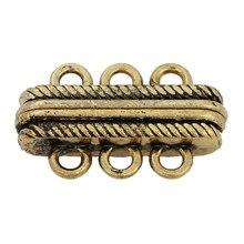 """DoreenBeads магнитные застежки фурнитура для ювелирных изделий ожерелье браслет золотой тон полоса резные 27 мм(1 1/"""") x 17 мм(5/8""""), 2 шт"""